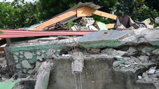A collapsed building from the 2021 earthquake in southern Haiti.