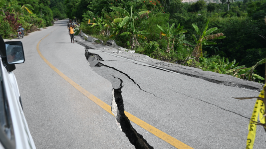 A road cracked in the 2021 earthquake