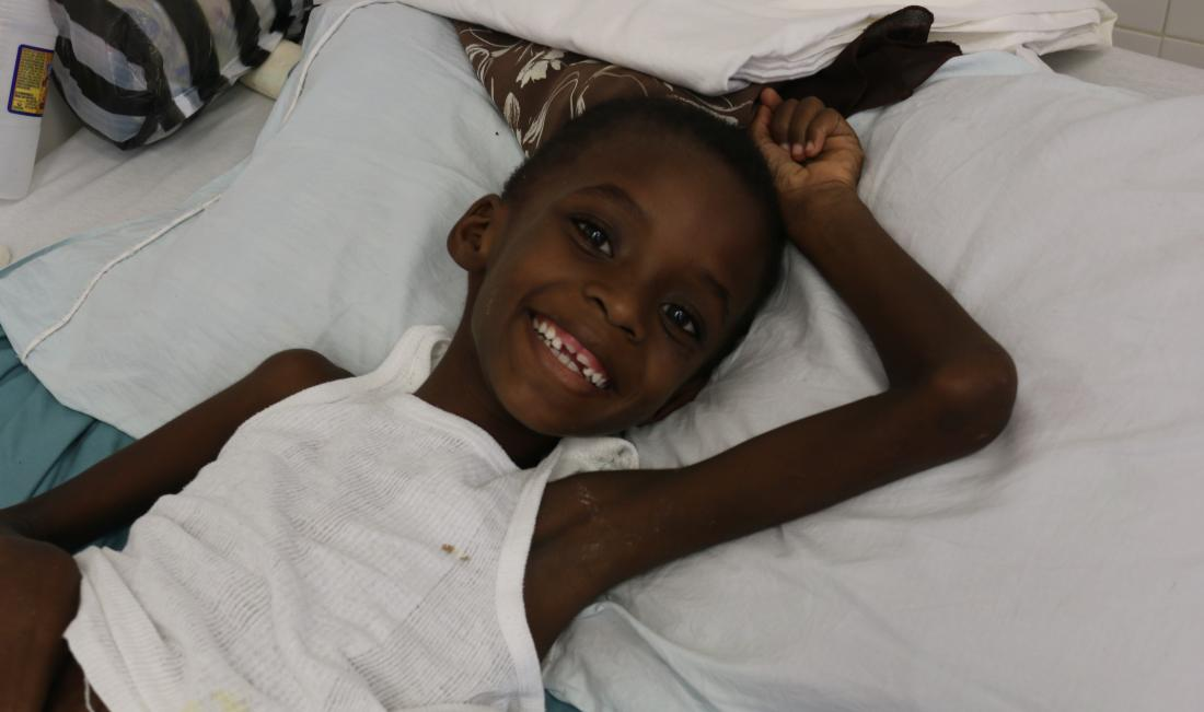 Ephlesien Charles at St. Boniface Hospital post-surgery
