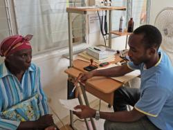 A doctor talking with patient