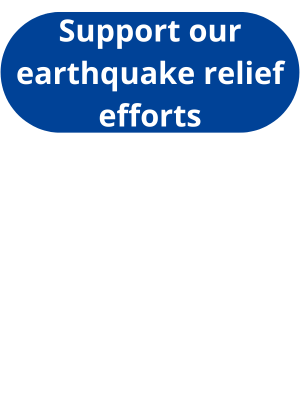"""a dark blue rectangle with rounded edges says """"support our earthquake relief efforts"""" in white font."""