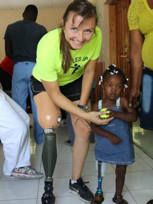 One Leg Up founder Kristy Wise with one of their youngest patients