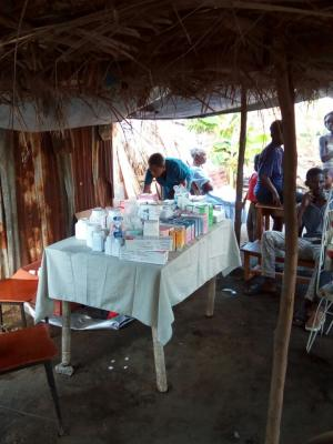 A table with medication in a mobile clinic